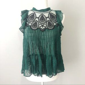 Free People Embroidered Sheer Ruffle Top Green XS